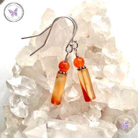 Carnelian Tube Earrings